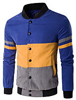 Men's Plus Size / Casual/Daily Simple / Active Jackets,Color Block V Neck Long Sleeve Spring / Fall Blue / White / Black / Gray Cotton