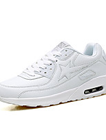 Unisex Athletic Shoes Spring Fall Winter Comfort Leatherette Outdoor Athletic Casual Flat Heel Black White Walking
