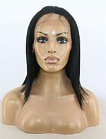 10-26 inch full lace humano virgem cabelo natural preto cor remy peruca reta com cabelo do bebê para mulheres negras