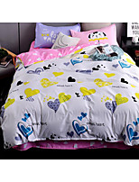 Geometric Duvet Cover Sets 4 Piece Polyester Pattern Reactive Print Polyester Queen 1pc Duvet Cover / 2pcs Shams / 1pc Flat Sheet