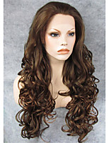 IMSTYLE 26''High Heat Resistant Dark Brown Long Wave Synthetic Lace Front Wigs For Party