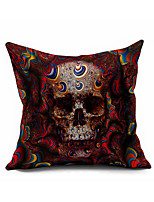 Skull Cotton Linen Throw Pillow Case Home Decorative  Cushion Cover Pillowcase Car Pillow cover(Set of 1)