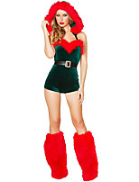 Cosplay Costumes Santa Suits Movie Cosplay Green Solid Leotard/Onesie Christmas Female Polyester