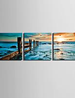 lienzo conjunto Paisaje Estilo europeo,Tres Paneles Lienzos Cuadrado lámina Decoración de pared For Decoración hogareña