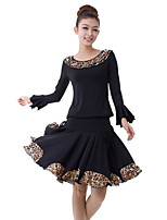 Latin Dance Outfits Women's Training Milk Fiber Draped / 2 Pieces Black Latin Dance Long Sleeve Natural Top / Skirt