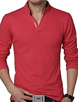 Men's Fashion Slim Letter Printed Long Sleeved Polo Shirt Letter V Neck Long Sleeve Red / White / Black / Gray / Green Cotton / Polyester