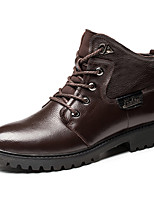 Men's Boots Winter Comfort Leather Outdoor Office & Career Casual Flat Heel Others Black Brown Other