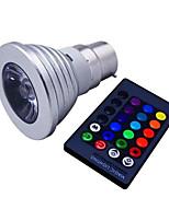 3W E14 GU10 B22 E26/E27 Spot LED MR16 1 LED Haute Puissance 110 lm RVB Gradable Commandée à Distance Décorative AC 85-265 V 1 pièce