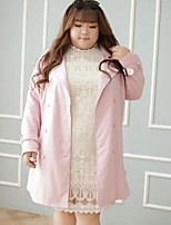 KELIXUAN  Women's Plus Size / Casual/Daily Simple Trench CoatSolid Notch Lapel Long Sleeve Winter Pink Polyester
