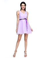 2017 Lanting Bride® Mini Me  Bridesmaid Dress - A-line V-neck Short / Mini Tulle with Sash / Ribbon / Bow(s) / Criss Cross