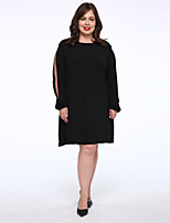 Women's Plus Size / Casual/Daily Simple T Shirt Dress,Solid Round Neck Above Knee Long Sleeve Black Cotton Autumn Mid Rise Micro-elastic