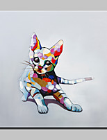 100% Hand Painted Lovely Cat Animal Oil Painting On Canvas Modern Abstract Wall Art Picture For Home Decoration Ready To Hang