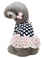 Dog Dress Blue / Pink Dog Clothes Winter / Spring/Fall Polka Dots Cute