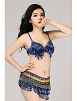 Belly Dance Outfits Women's Training Sequined Sequins 2 Pieces Hip Scarf / Bra