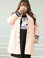 KELIXUAN  Women's Plus Size / Casual/Daily Simple CoatLetter Round Neck Long Sleeve Fall / Winter Pink Polyester / Spandex / Others