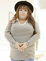 KELIXUAN  Women's Plus Size / Casual/Daily Simple Fall ShirtStriped Shirt Collar Long Sleeve White Nylon / Spandex / Others