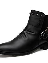 Men's Boots Fall Winter Comfort PU Casual Flat Heel Studded Black White