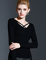 Women's Casual/Daily Simple Regular Pullover,Solid Black Round Neck Long Sleeve Rayon Acrylic Nylon Fall Winter Medium Stretchy