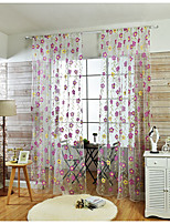 One Panel Curtain Country , Flower Living Room Linen/Polyester Blend Material Sheer Curtains Shades Home Decoration For Window