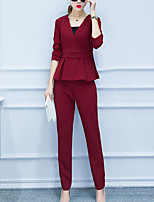 Women's Casual/Daily / Plus Size Simple All Seasons Set Pant Suits,Solid V Neck Long Sleeve Red / Green Polyester Medium