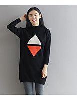 Fall Winter triangle pattern was thin loose round neck and long sections pullover shirt female real shot