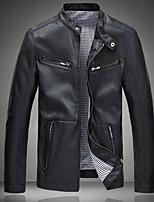 Мужчины На каждый день / Большие размеры Однотонный КурткаПростое Синий / Черный Длинный рукав,Полиуретановая