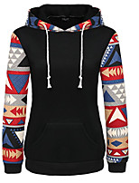 Women's Casual Simple Regular Hoodies,Patchwork Blue / Pink / White / Black / Green Round Neck Long Sleeve Cotton Autumn Medium