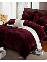Solid Duvet Cover Sets 4 Piece Polyester solid Reactive Print Polyester Queen 1pc Duvet Cover / 2pcs Shams / 1pc Flat Sheet
