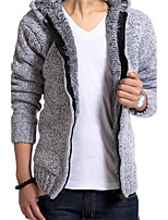 Men 'S High - End Sweater New Winter Paragraph Men' S Leisure Slim Solid Color Hooded Long - Sleeved Jacket