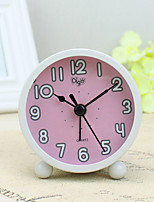 Alarm Clock with Matel Case In Pink Color Silent Movment Night Light Mini Size