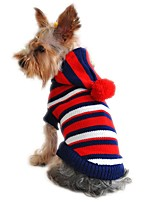 Cat / Dog Sweater / Hoodie / Jacket Red / Yellow Dog Clothes Winter Stripe Cute / Christmas