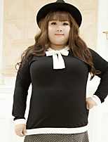 KELIXUAN  Women's Plus Size Simple Fall T-shirtSolid Round Neck Long Sleeve Black Cotton / Polyester