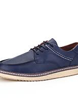 Черный / Синий / Коричневый-Мужской-Для прогулок / Для офиса / На каждый день-Дерматин-На плоской подошве-Удобная обувь-Туфли на шнуровке