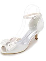 Feminino Sapatos De Casamento Plataforma Básica Primavera Verão Cetim Casamento Festas & Noite Pedrarias Laço Vazados Salto Agulha Roxo