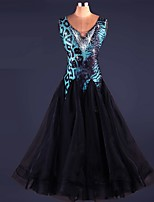 ריקודים סלוניים שמלות ביצועים ספנדקס / אורגנזה קריסטלים / rhinestones / עטוף / תחרה חלק 1 בלי שרוולים גבוה שמלות S-XXXL: 120-130cm