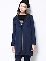 MEIDONGTAI Women's Plus Size / Casual/Daily Simple Trench CoatSolid Notch Lapel Long Sleeve Winter Polyester / Spandex Thick