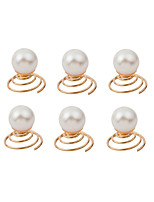 Women Fashion Simple Pearl Spring Hairpin Spiral Hairpin Hair Accessories  6 Piece