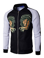 Men's Casual Punk & Gothic Animal Print Stand Long Sleeve Fall / Winter Blue Jackets