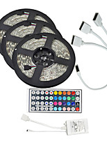 15M(3*5M) 5050 RGB 900 LEDs Strip Flexible Light LED Tape String Lights waterproof DC 12V 600LEDs with 44Key IR Remote Controller Kit