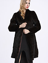 BF-Fur Style Women's Casual/Daily Sophisticated Fur CoatSolid Hooded Long Sleeve Winter Black Others