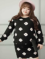 Women's Casual/Daily / Plus Size Chinoiserie Fall T-shirt Skirt Suits,Floral Round Neck Long Sleeve Black Cotton / Polyester