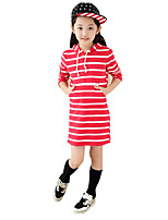 Girl's Casual/Daily Striped Dress,Cotton Fall Long Sleeve