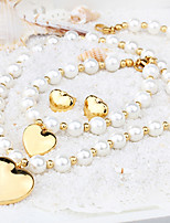 Kalen New Beautiful Women Jewelry 18K Gold Plated Love Heart Pendant Simulated Pearl Bead Necklace&Bracelet&Earrings Sets