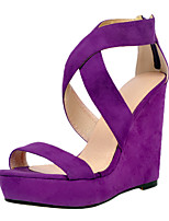 Women's Sandals Summer Platform Party & Evening / Dress / Casual Wedge Heel Zipper Purple