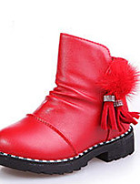 Girl's Boots Winter Comfort PU Casual Black Red Burgundy