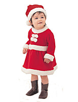 Cosplay Costumes Santa Suits Movie Cosplay Red Solid Dress / Hats Christmas / Children's Day Kid Polyester