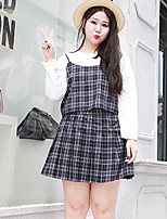 Women's Going out / Casual/Daily / Plus Size Simple / Cute Fall / Winter Tank Top Skirt Suits,Plaid Strap Sleeveless Blue / Red Polyester