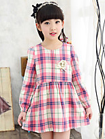 Girl's Casual/Daily Plaid Dress,Linen Summer Long Sleeve