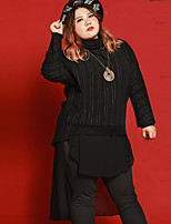 JAZZ Women's Plus Size / Casual/Daily Simple Loose DressStriped Turtleneck Midi Long Sleeve Black Polyester Fall Mid Rise Inelastic Medium