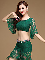 Belly Dance Outfits Performance Lace Lace 2 Pieces Half Sleeve Natural Top / Skirt No Include Waist Chain